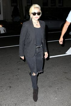 Pokerfaced Lady Gaga sports all black ensemble after split