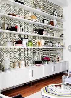 Back shelves with wallpaper for a more decorative look!