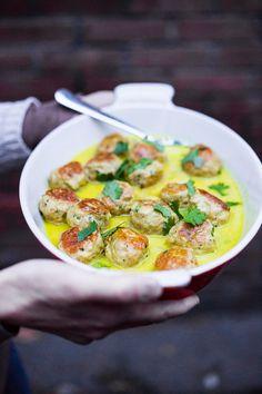 Thai Turkey Meatballs with Lemongrass Coconut Sauce