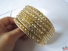 Gold Soft PU Leather Flowers MultiCrystal by sevenvsxiao on Etsy, $9.00