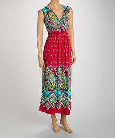 Take+a+look+at+the+jon+&+anna+Pink+&+Turquoise+Paisley+Surplice+Maxi+Dress+-+Women+on+#zulily+today!
