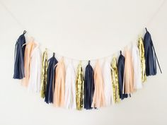 Peach and Navy Blue Tassel Garland - Peach Party Decor, Peach and ...