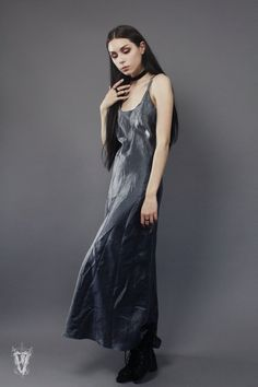 Sz M/L Vintage 1990s Metallic Silver Sleeveless Gown by VespereVintage