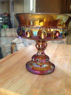 Vintage Amber Carnival Glass Small Pedestal by OldVintageMemories, $10.00