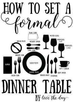 Learn How The Proper Place Setting For Both Informal And Formal Dinner Tables Full Tutorial