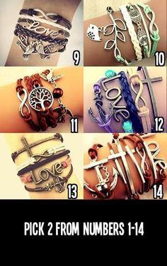 Pick 2, Cute Infinity Charm Bracelets, Boho Bracelet, Bohemian Jewelry, Hippie Bracelets, Wax Cord Bracelets on Etsy, $15.00