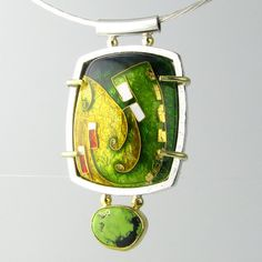 Green Cloisonne Pendant Sterling Silver Enamel Texture Pattern 'Lime Turquoise'