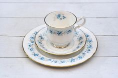 Vintage English Teacup Trio Set - Blue Floral Border on White