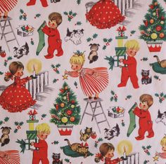 Vintage Juvenile CHRISTMAS Gift Wrap - Wrapping Paper - GIRLS and BOYS - Puppies and Kittens - 1950s