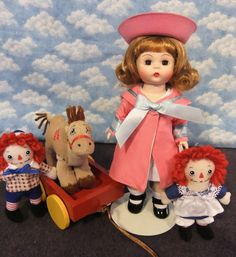 "Madame Alexander 8"" MARCELLA LOVES RAGGEDY ANN &ANDY BK-Near Mint-W/stand #MadameAlexander"