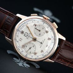 TITUS Geneve [Swiss] Vintage Rose-Gold Chronograph Watch With Landeron Cal. 48
