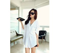 Cheap Wholesale Lazy Style Shirt Neck Long Sleeves Loose Fit Long Style Solid Color All-Match Cotton Blend Women's Shirt (WHITE,ONE SIZE) At Price 8.82 - Dresslily.com