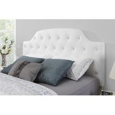 Shop for Dorel Living Lyric White Button Tufted Headboard. Get free delivery at Overstock.com - Your Online Furniture Shop! Get 5% in rewards with Club O!