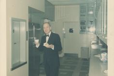 Marjorie Post's longtime employee Gus Modig sips tea in the Pantry.