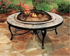 "Sit around a roaring fire with plenty of style and none of the fuss with the Asia Direct AD658C Asia Direct 40"" Copper and Slate Fire Pit Table with Copper Fire Bowl. www.elitedeals.com $344.95"