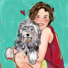 custom whimsical portrait illustration with pet by ElettraArt