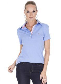 camisa polo feminina azul principessa rubian detalhe look corpo Camisa Polo, Golf Clothing, Golf Outfit, Work Clothes, Gypsy, Casual Outfits, My Style, Sweatshirts, Sleeve