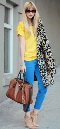 yellow, blue and animal print