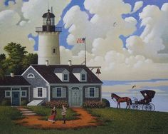 Charles Wysocki Jayson Sparking the Lighthouse Keeper's Daughter- Canvas