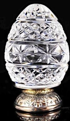 Waterford Crystal Annual EGG on Plated Silver Stand 1990 1st Edition Ireland #WaterfordCrystal