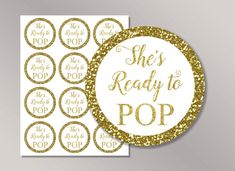 shes ready to pop stickers ready to pop tags ready to pop labels gold baby shower dcor cupcake toppers printable baby shower ideas
