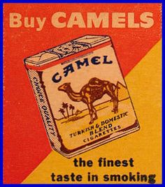 "original pinner said, Camel Cigarettes Matchcover, unfortunately my dad smoked these and died at the age of 70 from COPD."" kids, these are also the brand that contributed to my Papa S.Advertising like this used to be very common. Vintage Advertisements, Vintage Ads, Vintage Images, Vintage Cigarette Ads, Vintage Italian Posters, In Memory Of Dad, Ad Art, Mad Men, Vintage Signs"