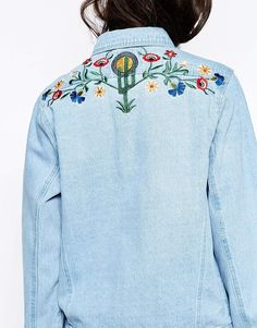 Image 3 ofLiquor & Poker Boyfriend Trucker Jacket With Colourful Floral Embroidery