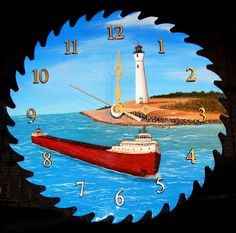Hey, I found this really awesome Etsy listing at https://www.etsy.com/listing/104488540/saw-blade-clock-10-hand-painted-crisp
