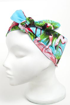 Turquoise pink flamingo head scarf.  Hand made vintage style 50's rockabilly roller derby scarf.  http://bad-kitty.co.uk/