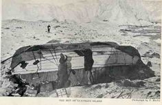 Stranded on Elephant Island, Ernest Shackleton's men construct a shelter from a pair of boats, 1916. They survived in this accommodation for more than four months