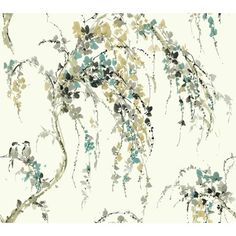 """Found it at Wayfair - Watercolors Lovebirds 27' x 27"""" Floral and Botanical Wallpaper"""