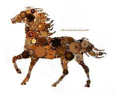 HORSE 8x10 Button Art Button Artwork diy ooak от CherCreations
