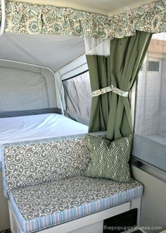 Gypsy Interior Design Dress My Wagon Serafini Amelia Travel Trailer-Cutains-How to Sew Cushion Covers for your Camper Popup Camper, Diy Camper, Camper Van, Camper Hacks, Camper Life, Rv Life, Trailer Interior, Camper Interior, Interior Design