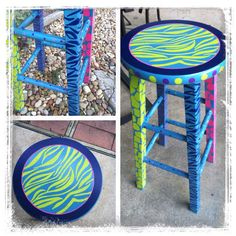 sillas y bancxos pintados