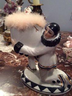 demi figurine half doll powder puff powder dish Pierrot Art Deco