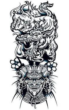 ... Dragon N Warrior Tattoo Warrior Tattoo Designs Skull Samurai Tattoo