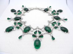 1960's MIMI DI N Runway Rhodium Green Glass Cabochon