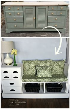 an old dresser upcycled with a fresh new look into a white storage bench for a kitchen, mudroom and more MyRepurposedLife.com