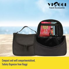Our Toiletry Bag is perfect for weekend travel! One zipper compartments and an elastic pouch to hold everything you need. only at www.viaggitravelworld.com #toiletrybag #toiletryorganizer #toiletry