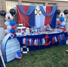 Resultado de imagen para MICKEY MOUSE BEBE MARINERO Sailor Birthday, Sailor Party, Mickey First Birthday, 1st Birthday Themes, Baseball Birthday Party, Baby Birthday, 1st Birthday Parties, Festa Mickey Baby, Mickey Party