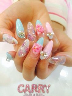 ♥ The Cutest Monthly Kawaii Subscription Box ♥ Receive cute items from Japan & Korea every month ♥ Aycrlic Nails, Love Nails, How To Do Nails, Pretty Nails, Bling Nails, Pastel Nails, Cute Acrylic Nails, Kawaii Nail Art, Kawaii Makeup