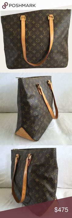 """Louis Vuitton Monogram Cabas Mezzo Authentic Louis Vuitton.  Measures about 17"""" L x 13"""" H x 6"""" D and 9"""" strap drop.  Structure is solid.  Leather has water marks and some stains.  Interior has a few ink marks and light perfume smell.  Made in France.  Date Code FL0073 (July 2003).  No trades. Louis Vuitton Bags Shoulder Bags"""