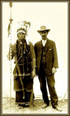 This photograph was taken at the Fat Stock Show in Fort Worth, Texas, March 19th, 1909. Quanah Parker and W. C. Riggs. Riggs was born in Izard Co. Arkansas in 1856. His parents John and Jane Riggs were murdered by Comanche Indians in Post Oak Branch, Bell County, March 16, 1859 and buried at Sugarloaf Cemetery, Coryell County, Texas. - Part of the Lawrence T. Jones III Texas photography collection. Series 8: Postcards.