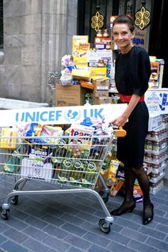 Audrey Hepburn photographed by Carraro at a London supermarket for a UNICEF campaign in London, England, May 07, 1989.