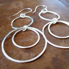 Triple hoop sterling silver statement earrings by BrookeJewelry