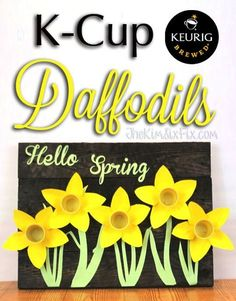 A quick and easy way to recycle KCups into this adorable spring daffodil craft. K Cup Crafts, Diy Crafts For Kids, Easy Crafts, Craft Ideas, Kids Diy, Book Crafts, Decor Crafts, Project Ideas, Diy Ideas