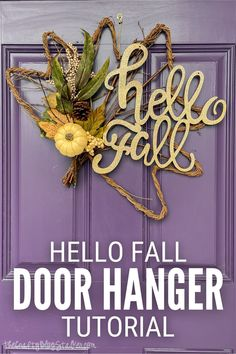 Greet your visitors with a happy fall hanger on your front door! 🍁 Click here for the step-by-step tutorial to make your own fall door hanger.#thecraftyblogstalker #falldoorhanger #falldoordecor #diydoorhanger Diy Wreath, Wreaths, Fall Crafts, Diy Crafts, Fall Door Hangers, Glitter Pumpkins, Fall Door Decorations, Do It Yourself Crafts, Neighbor Gifts