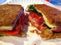 Proscuitto, fontina, roasted tomato, and spinach sandwhich