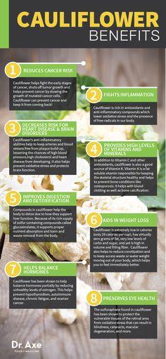 Cauliflower: Benefits, Nutrition & Recipes  http://www.draxe.com #health #natural #holistic #recipe