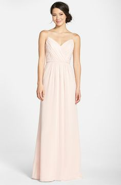 Jim Hjelm Occasions 'Luminescent' Draped V-Neck A-Line Chiffon Gown available at #Nordstrom